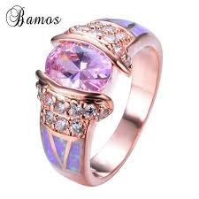 opal rings unique images Rose gold filled unique design pink fire opal ring crystal fashion jpg