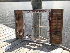 Shabby Chic Shutters by Old Painted Window Stenciled Window Etched Glass Window Arched