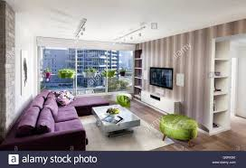 Green Striped Wallpaper Living Room Tel Aviv Apartment Spacious Modern Living Room With Purple Couch