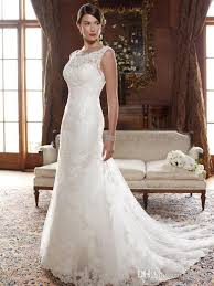 Chapel Train Wedding Dresses Lace Wedding Dresses Elegant Jewel Neckline Chapel Train Bridal