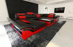 Black And Red Sofa Set Designs Big Leather Sofa Enzo With Led Lights Black Pink