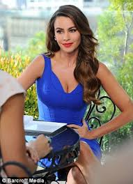 viagra commercial actress in blue dress sofia vergara dazzles in plunging blue dress in behind the scenes