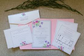 wedding invitation pocket envelopes 5x7 pink pocket wedding invitation with pastel florals in purple