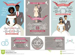 wedding invitations set different bride and groom stock vector