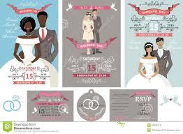 holiday wedding invitations wedding invitations set different bride and groom stock vector