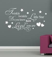 Twinkle Little Star Nursery Decor Twinkle Twinkle Little Star Wall Stick Baby Room Decor Love Poster