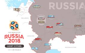 russia world cup cities map russia 2018 host cities map vector