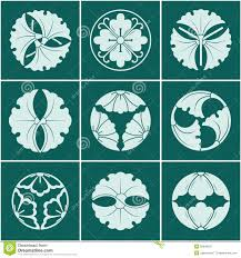 Japanese Designs Circular Flower And Flower Pattern Japanese Style Stock Vector