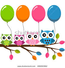 owl balloons four colorful owls balloons sitting on stock vector 568830760