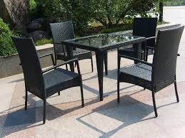 Patio Glass Table Trendy Black Wicker Furniture For Rattan Dining Set With Glass