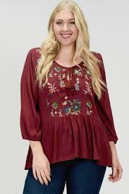 burgundy blouse plus burgundy floral embroidered peplum blouse forgottengraceonline