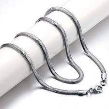 titanium necklace men images Exquisite men titanium steel oblate flat snake chain necklace us jpg