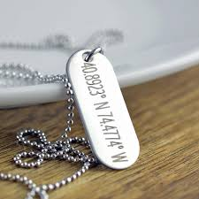 mens personalized dog tags latitude longitude necklace engraved necklace coordinate