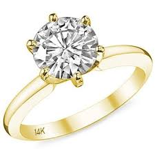 6 prong engagement ring 14k yellow gold cz engagement ring solitaire 6 prong