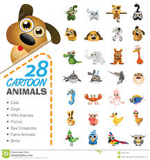 big set of various cartoon animals and birds stock vector image