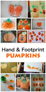 hand and footprint pumpkins great fall art activity for kids