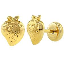 infant earrings 18k gold plated small strawberry safety stud baby infant toddler