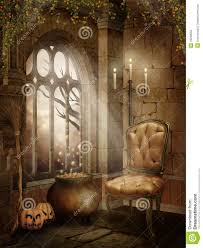 halloween decotations castle room with halloween decorations royalty free stock image
