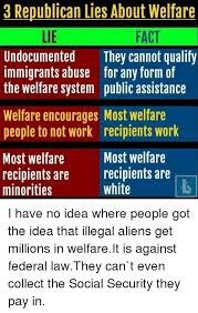 How To Get Welfare Meme - 3 republican lies about welfare fact lie undocumented they cannot