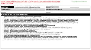 occupational health and safety specialist job description