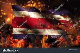 Burning Red Flag Costa Rica Burning Fire Flag War Stock Illustration 215464882