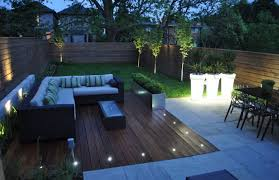 Outdoor Backyard Ideas Modern Backyard Ideas With Wooden Deck And L Shaped Sofa