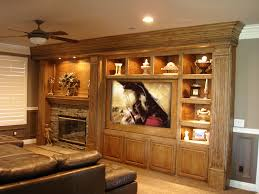 fireplace and tv offset in built in entertainment center