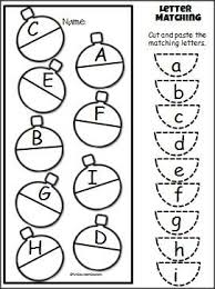 christmas uppercase lowercase cut and paste activity for prek and