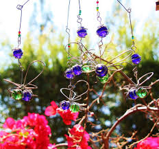 suncatcher bumble bee bead and recycled glass mobile handcrafted