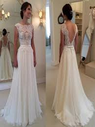 chiffon wedding dress buy bateau backless chiffon wedding dress with lace