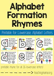 lowercase alphabet formation rhymes teaching mama