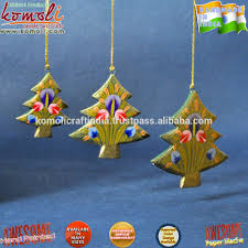 hand painted wood cutouts tree shape indian christmas ornaments