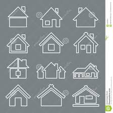 outline house icon stock vector image 52368021