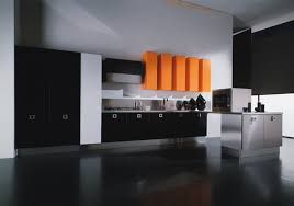 cozy kitchen design with black cabinets and surprising orange