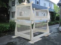 Bunk Bed Cribs High White Wooden Crib Bunk Bed With Bars On The And Foot