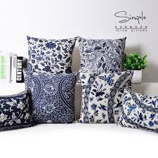 coussin décoratif pour canapé chinois taie d oreiller bleu floral oreiller couvre vintage