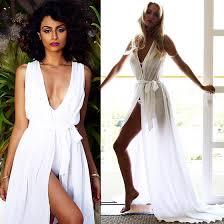 white maxi dress white plain irregular plunging neckline bohemian cotton blend maxi