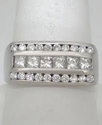 10mm diamond 14k white gold 1 00ct princess cut diamond three row