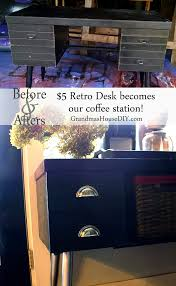 a 5 retro desk becomes our brand new coffee station
