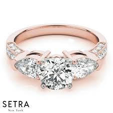 new diamonds rings images 18k fine gold elegant engagement ring diamonds rings 3 stone pear jpg