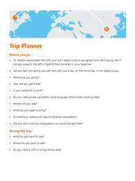 trip planner templates trip planner office templates