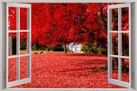 window view beautiful red forest wall sticker mural art decal shop categories
