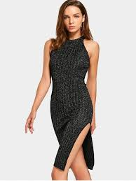 fitted dresses sleeveless sequined side slit dress black bodycon dresses one