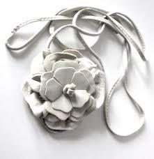 leather flower necklace images Headband white leather flower fantasy modular in belt large size jpg