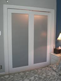 simple bedroom with sliding bypass closet door design and blur