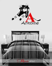 hockey wall decal custom first name hockey decor hockey wall hockey wall decal custom first name hockey decor hockey wall art vinyl sticker hockey player personalized headboard kids boy bedroom