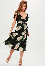 black plunge floral maxi dress missguided