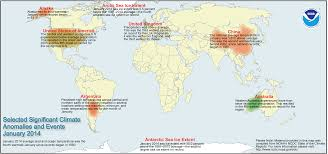 World Temperatures Map by Global Climate Report January 2014 State Of The Climate