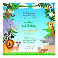 Jungle Birthday Card Jungle Birthday Invitations Announcements Zazzle Com Au