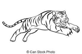 running tiger clipart black and white clipartxtras